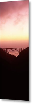 Silhouette Of A Bridge At Sunset, Bixby Metal Print by Panoramic Images