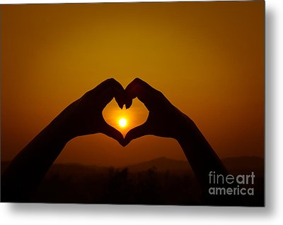 Silhouettes Hand Heart Shaped Metal Print by Tosporn Preede