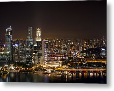 Singapore City Skyline At Night Metal Print by David Gn
