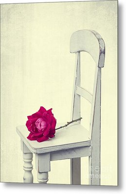 Single Red Rose Metal Print by Edward Fielding
