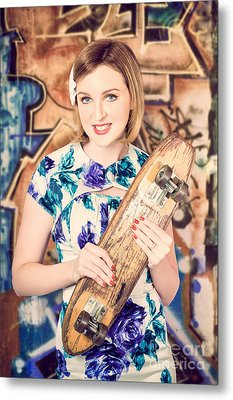 Skater Girl From 1950s Holding Wooden Skate Deck Metal Print by Jorgo Photography - Wall Art Gallery