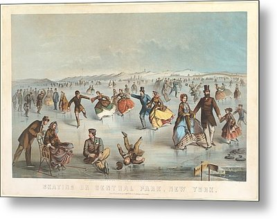 Skating In Central Park New York Metal Print by Celestial Images
