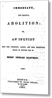 Slavery. An Abolitionist Book. The Metal Print