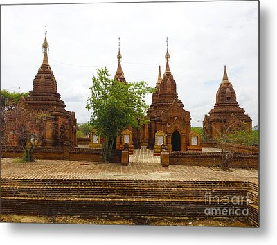 Metal Print featuring the photograph Smaller Temples Next To Dhammayazika Pagoda Built In 1196 By King Narapatisithu Bagan Burma by Ralph A  Ledergerber-Photography