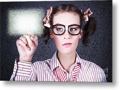 Smart Business Woman Pressing Digital Touch Screen Metal Print