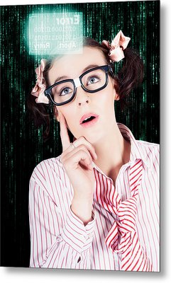 Smart Woman Hacking Network Access Code Metal Print by Jorgo Photography - Wall Art Gallery