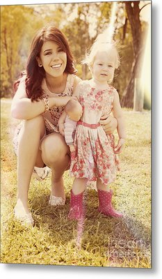 Smiling Baby And Mother Playing At Australian Park Metal Print by Jorgo Photography - Wall Art Gallery