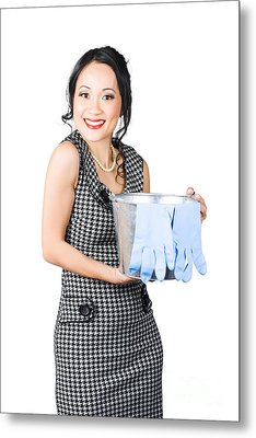 Smiling Female Cleaner Ready To Start Housework Metal Print by Jorgo Photography - Wall Art Gallery