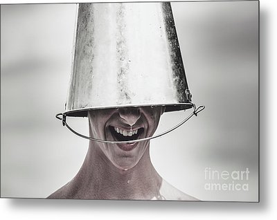 Smiling Man Laughing With Ice Bucket On Head Metal Print by Jorgo Photography - Wall Art Gallery