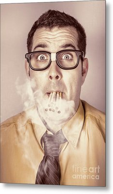 Smoking Nerd Businessman Under Work Stress Metal Print by Jorgo Photography - Wall Art Gallery