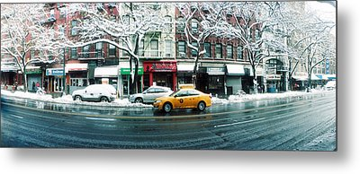 Snow Covered Cars Parked On The Street Metal Print by Panoramic Images
