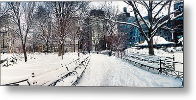 Snow Covered Park, Union Square Metal Print by Panoramic Images