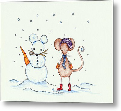 Snow Mouse And Friend Metal Print by Sarah LoCascio