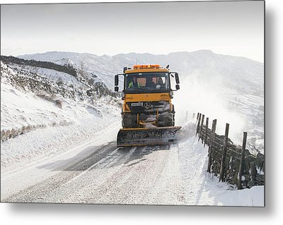 Snow Plough At Work Metal Print by Ashley Cooper