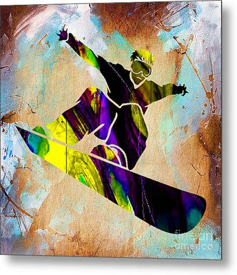 Snowboarder Metal Print by Marvin Blaine