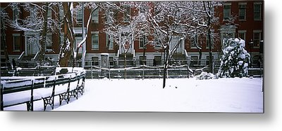 Snowcapped Benches In A Park Metal Print