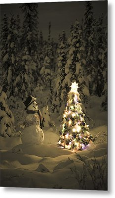 Snowman Stands In A Snowcovered Spruce Metal Print by Kevin Smith