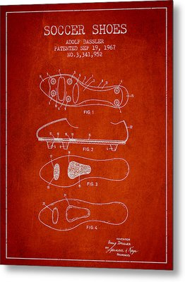 Soccer Shoe Patent From 1967 Metal Print by Aged Pixel