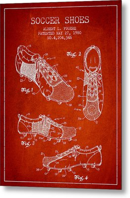 Soccershoe Patent From 1980 Metal Print by Aged Pixel