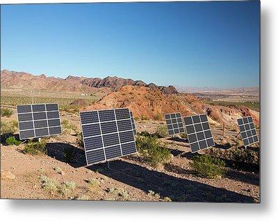 Solar Panels Next To A Church Metal Print by Ashley Cooper