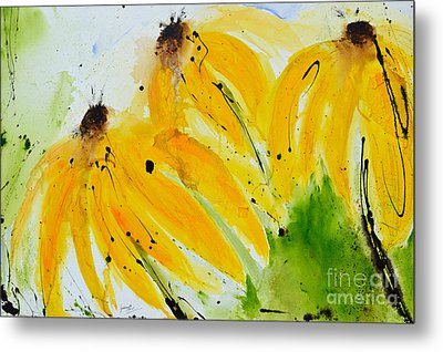 Metal Print featuring the painting Sonnenhut -  Floral Painting  by Ismeta Gruenwald