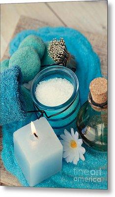 Spa Setting With Bath Salt  Metal Print by Mythja  Photography