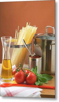 Spaghetti, Tomatoes, Oil And Pan Metal Print