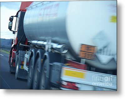 Speeding Truck On Highway Metal Print by Sami Sarkis