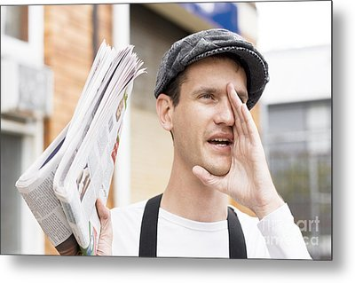 Spruiking Newspaper Boy Metal Print