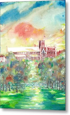 St Albans Abbey - Sunset Metal Print by Giovanni Caputo