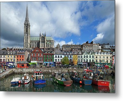 St Colemans Cathedral From The Harbour Metal Print by Panoramic Images