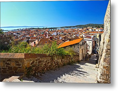 stairway and ancient walls in Carloforte Metal Print by Antonio Scarpi