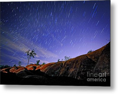 Star Trails Over Badlands Metal Print by Charline Xia