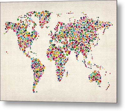 Stars Map Of The World Map Metal Print by Michael Tompsett