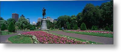 Statue In A Garden, Paul Revere Statue Metal Print by Panoramic Images
