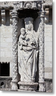 Statue Of St. Mary And Child At Belem Tower In Portugal Metal Print by Artur Bogacki