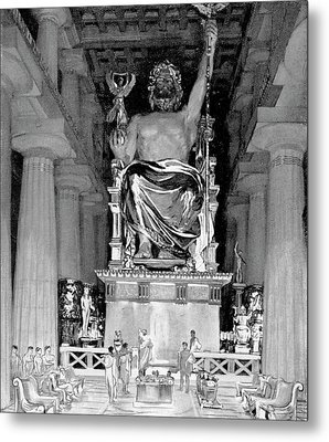 Statue Of Zeus At Olympia Metal Print by Cci Archives