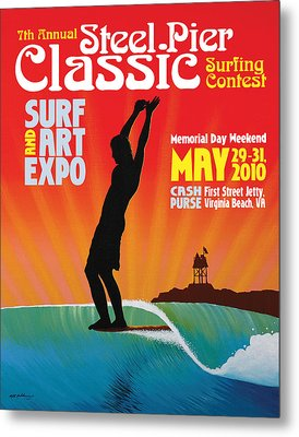 Steel Pier Classic Surf Contest Poster 2010 Metal Print by Matthew Haddaway