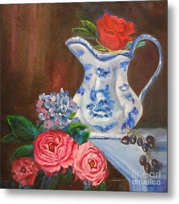 Metal Print featuring the painting Still Life With Blue And White Pitcher by Jenny Lee
