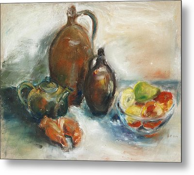 Still Life With Earthen Jugs Metal Print by Barbara Pommerenke