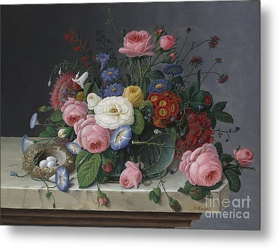 Still Life With Flowers And Birds Nest Metal Print by Severin Roesen