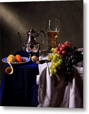 Metal Print featuring the photograph Still Life With Roemer And Silver Tea Pot by Levin Rodriguez