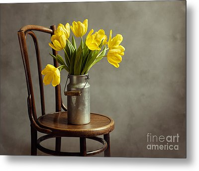 Still Life With Yellow Tulips Metal Print by Nailia Schwarz