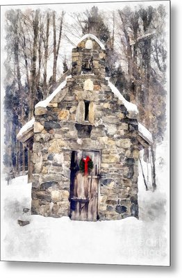 Stone Chapel In The Woods Trapp Family Lodge Stowe Vermont Metal Print