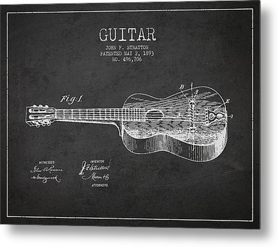 Stratton Guitar Patent Drawing From 1893 Metal Print by Aged Pixel