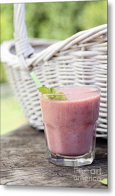 Strawberry Fruit Drink Metal Print by Mythja  Photography