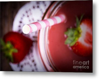 Strawberry Smoothie Metal Print by Jane Rix