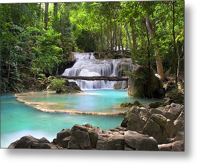 Stream With Waterfall In Tropical Forest Metal Print by Artur Bogacki