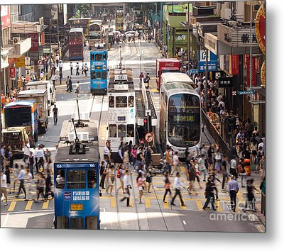 Street Scene In Hong Kong Metal Print by Matteo Colombo