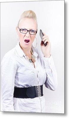 Stressed Employee Communicating In Workplace Metal Print by Jorgo Photography - Wall Art Gallery